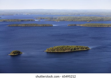 Lake landscape in Finland. Lake Pielinen, Photographed from Koli Mountain in eastern Finland.