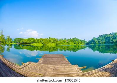 Lake landscape - fisheye view - Shutterstock ID 170801543