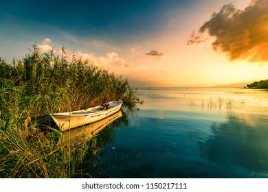 lake landscape and fishing boat. Golyazi, Sapanca, Van golu, Iznik, Turkey.