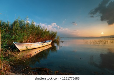 lake landscape and fishing boat. Golyazi, Iznik, Sapanca, Van golu, Turkey.