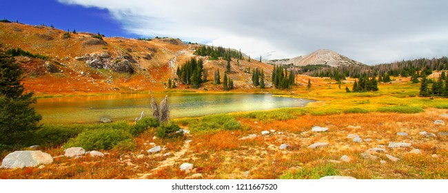Lake landscape scenery amid the mountainous Medicine Bow National Forest in Wyoming
