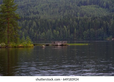 Lake landscape with spruce in the foreground and wooden pier. Cloudy summer day.