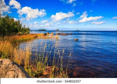 Lake landscape at summer  in rural Finland
