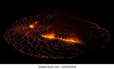 Lake of lava in Africa, Democratic Republic of Congo, Virunga National Park, Nyiragongo volcano