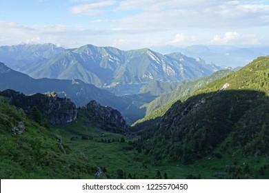 Lake Ledro from Passo Tremalzo (Dolomites, Italy) near Lake Garda