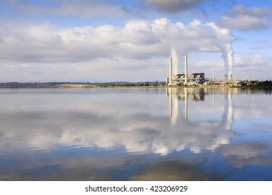 Lake Liddell coal fired power station, reflecting in Lake Liddell,  NSW, Australia.