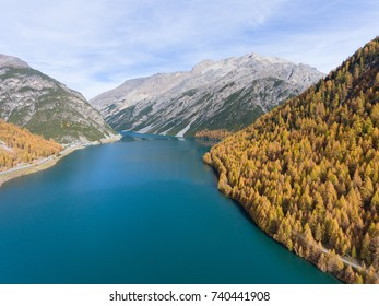 Lake of Livigno in Valtellina - Aerial view with drone