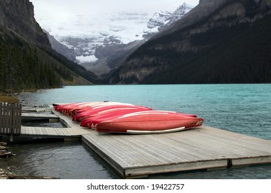 Lake Louise, Alberta, Banff National Park, Canada, with canoes in foreground