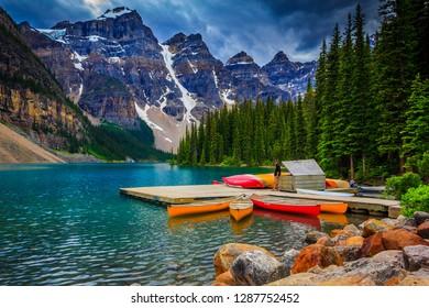 Lake Louise, Alberta / Canada - 07 14 2013: Moraine Lake boat house