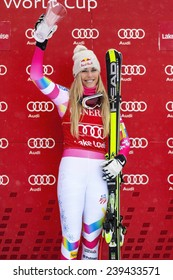 LAKE LOUISE ALBERTA CANADA , DEC 6 2014 : The happy Ms  Lindsey Vonn at the 2014 Audi FIS World Cup Super G after winning the race