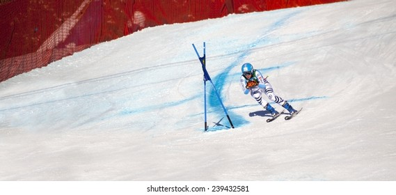LAKE LOUISE, ALBERTA CANADA - DEC.7.2014. : 55 official entry speeds down the course  during the Audi FIS Alpine Ski World Cup Ladies' Super G race. The average speed is 114 km/h during the race.