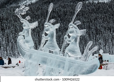 Lake Louise, Alberta / Canada - January 17 2016: Ice carvings at the 2016 Lake Louise Ice Magic Festival