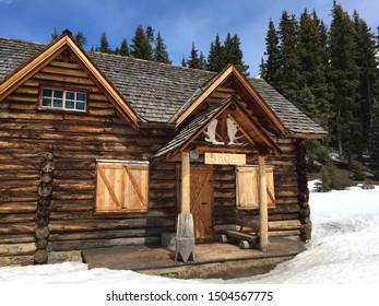 Lake Louise, Alberta, Canada - May 4, 2015: Skoki Ski Lodge, a National Historic Site of Canada, built in 1930 in the Skoki Valley of Banff National Park