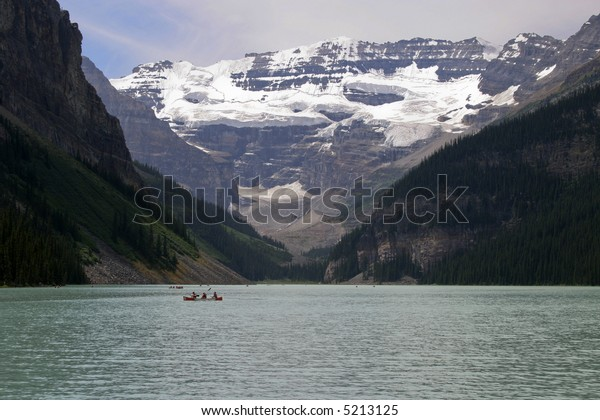 Lake Louise Alberta Canada with Red Boat