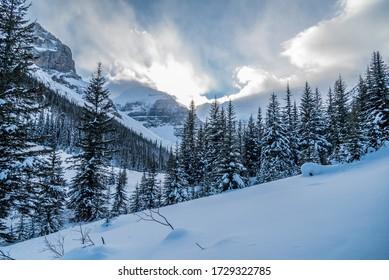 Lake Louise in Banff Park in winter time, Alberta, Canada