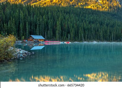 Lake Louise Canoe Shack in Autumn, Banff National Park, Alberta, Canada