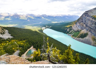 Lake Louise and Mirror Lake overlooking from Big Beehive in autumn, Banff National Park, Canadian Rockies, Alberta, Canada