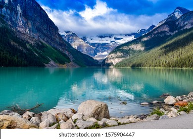 Lake Louise reflections on the water in the Canadian Rockies