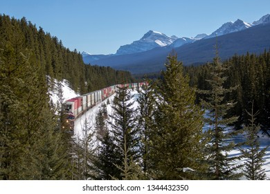 Lake Louise Rocky Mountains Train Tracks Morants Curve Canada