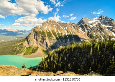 Lake Louise and Saddleback Mountain from the summit of Big Beehive in Spring, Banff National Park, Alberta, Canada Rocky Mountains