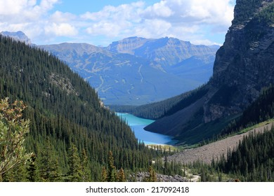 Lake Louise seen from the Plain of the Six Glaciers hiking trail, Banff National Park, Alberta, Canada
