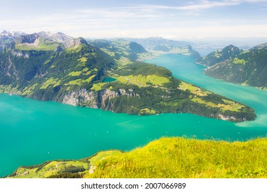 Lake Lucerne and the Swiss alps. Mountain view from Fronalpstock.