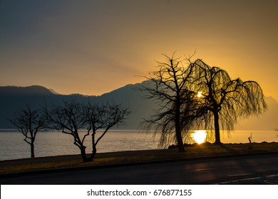 Lake Lucerne winter sunset
