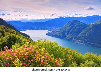Lake Lugano in Alps, Italy and Switzerland