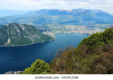 Lake Lugano and panoramic view of the city Lugano, Switzerland
