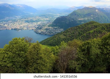 Lake Lugano and panoramic view of the city Lugano, Switzerland