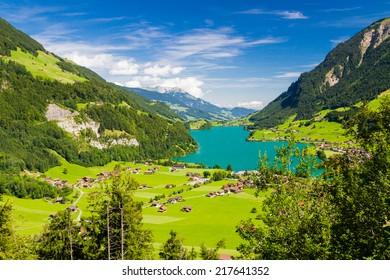 Lake Lungern Valley from Brunig Pass, Switzerland