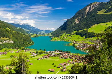 Lake Lungern Valley from Brunig Pass, Switzerland