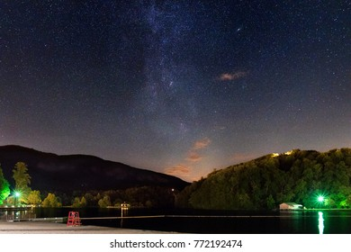 lake lure under milky way