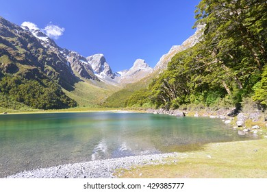 Lake Mackenzie on Routeburn track - world renowned tramping (hiking) 32 km track found in the South Island of New Zealand.