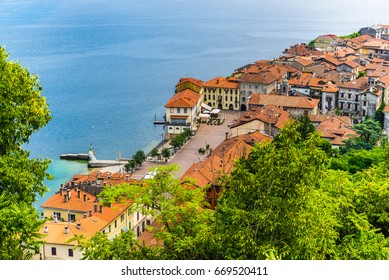Lake Maggiore, Arona, historic center, Italy. Aerial view of Piazza del Popolo and the oldest and most characteristic part of the city of Arona