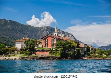 LAKE MAGGIORE, ITALY - AUGUST 11, 2018: Beautiful Lago Maggiore in Northern Italy