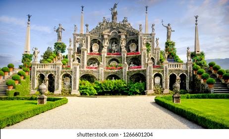Lake Maggiore, Italy - September 5, 2018: Garden Fountain at Borromeo Palace, Isola Bella, Lake Maggiore, Italy.