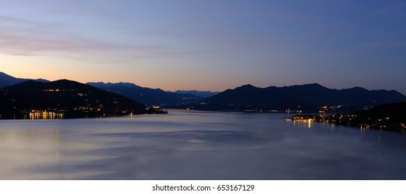 lake maggiore night italian lake