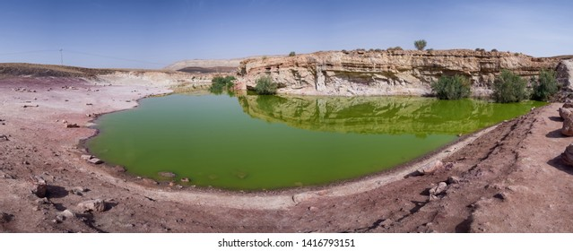 Lake in Makhtesh (crater) Ramon, is a geological landform of a large erosion cirque in the Negev Desert, Southern Israel