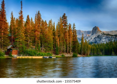 Lake Mamie Boat House near Mammoth Lakes at sunrise in the California Eastern Sierra Mountains.