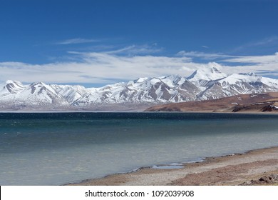 Lake Manasarovar in Ngari, Western Tibet, China. According to the Hindu religion, the lake was first created in the mind of the Lord Brahma after which it manifested on Earth