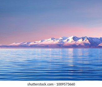 Lake Manasarovar in Western Tibet. According to the Hindu religion, the lake was first created in the mind of the Lord Brahma after which it manifested on Earth