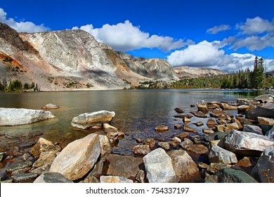 Lake Marie is a beautiful pristine mountain lake in the shadows of the Medicine Bow Mountain Range in Wyoming