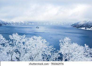 Lake Mashu and Rime ice in winter, Hokkaido, Japan