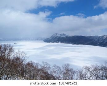 Lake Mashu in the snow