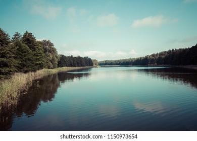 Wydmińskie Lake in Masuria Lakeland region of Poland, Wydminy.