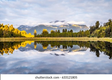Lake Matheson. Locate near the Fox Glacier in West Coast of South Island of New Zealand.It is famous for its reflected views of Aoraki/Mount Cook and Mount Tasman.