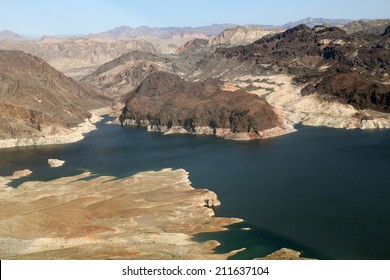 Lake Mead reservoir with drought visible on the Colorado River in Nevada and Arizona in the USA