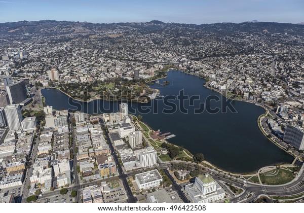 Lake Merritt Park near Downtown Oakland, California.