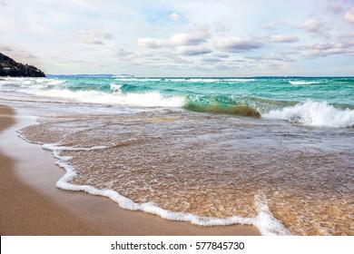 Lake Michigan beach in Leland, Michigan